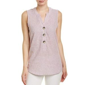 Harvé Bernard washable linen button tank top